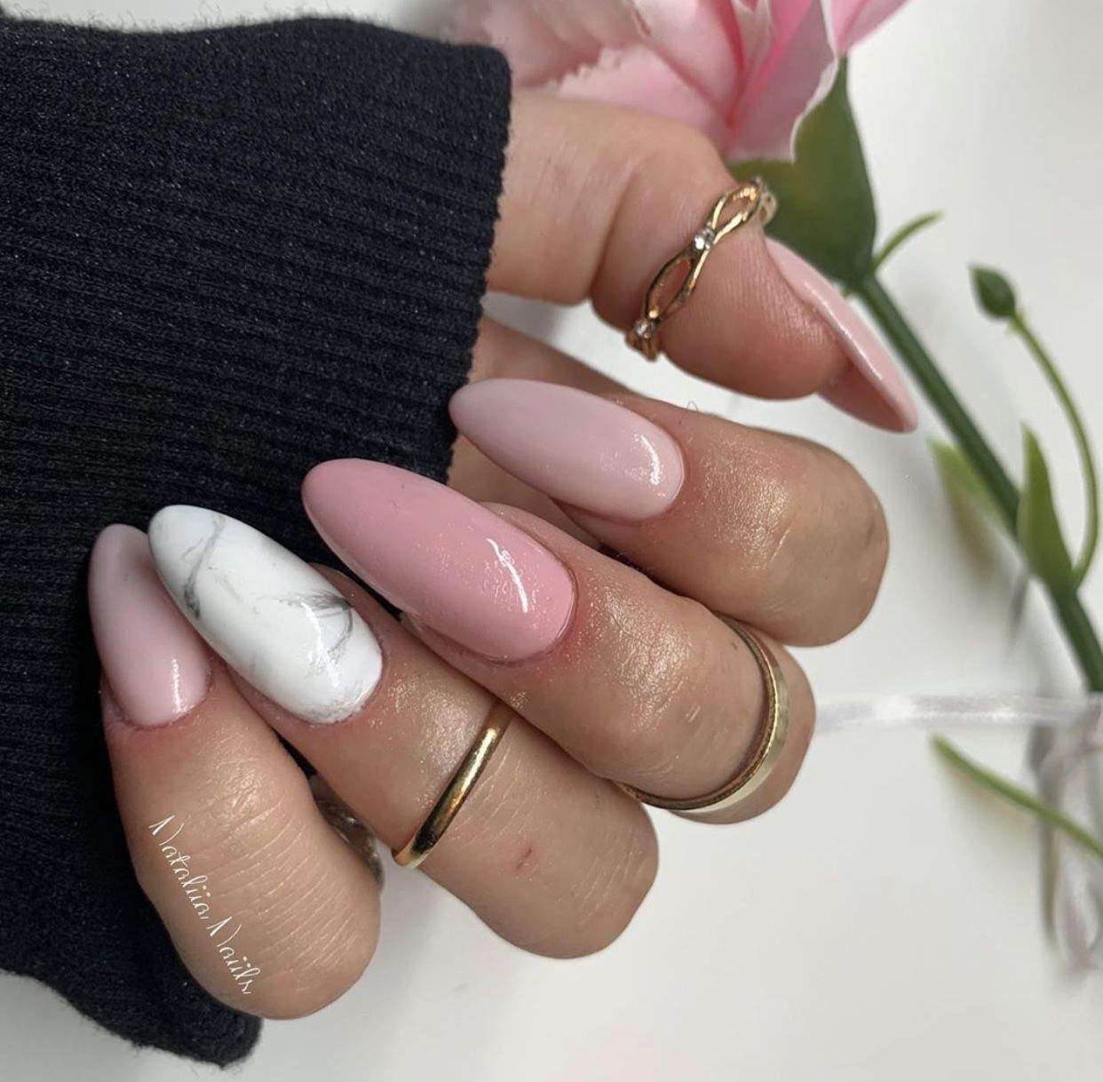 Pink Marble Nails Pink aesthetic, Nails, Marble nails