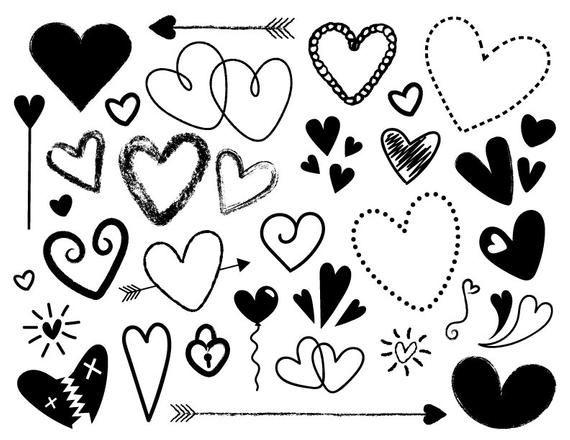 Black And White Silhouette Scribble Heart Clip Art Set Png Svg Vector Cute Doodle Chalkboard Valentine Love Graphic Digital Illustration Heart Clip Art Valentine Doodle Clip Art