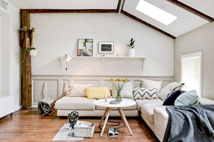 wandfarbe weiss wandgestaltung wohnzimmer offenes wandregal holz ...