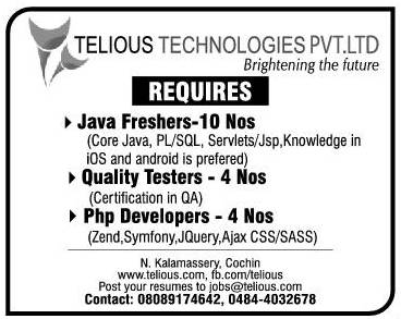 Telious Technologies Pvt Ltd Requires PHP Developers Quality Testers And JAVA Freshers Send Your Resume To Jobstelious