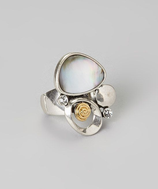 Silver Opal Oval Stretch Ring