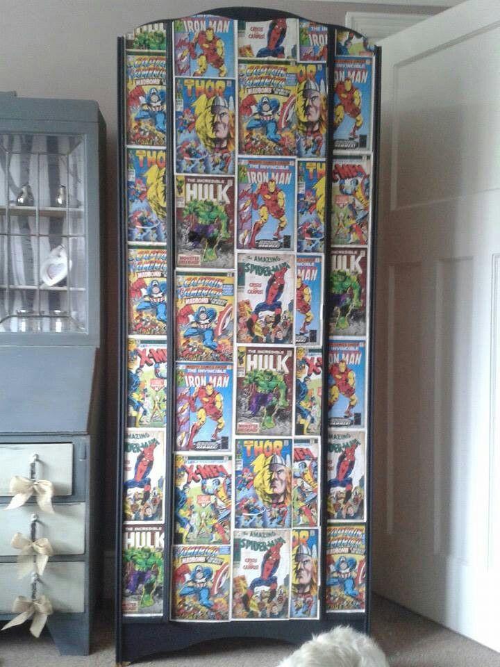 Boys Wardrobe With Comic Decoupage Comic Book Bathroom