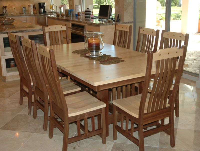 Mission Dining Table In Hard Maple And Walnut Dining Table