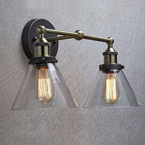 CLAXY Ecopower Simplicity Industrial Edison Antique Glass 2-Light Wall Sconces    eBay