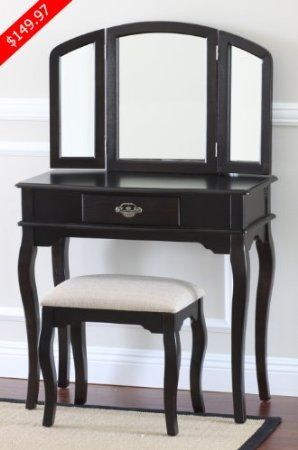 Frenchi Home Furnishing Queen Anne Style 3 Piece Vanity Set W Stool Espresso Finish Kitchen