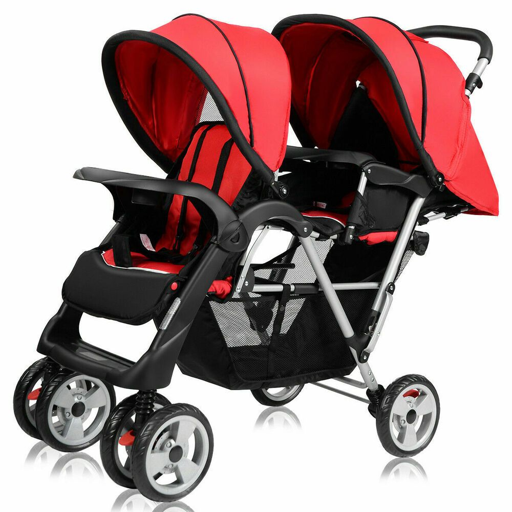 Foldable Twin Baby Double Stroller Kids Jogger Travel