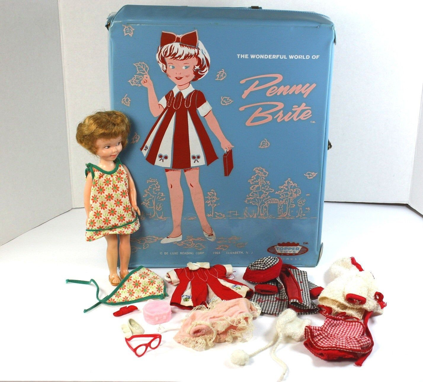 """Vintage 1960's Deluxe Reading """"Penny Brite"""" Doll, Case"""