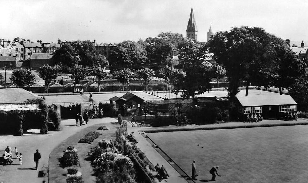 Old photograph of the Lawn Bowling Green in Kinburn Park in St Andrews, Fife, Scotland