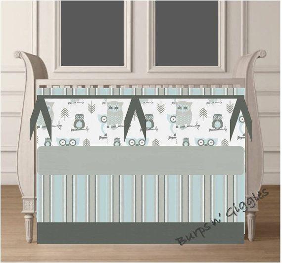 Custom Crib set in Blue Gray Owls by LittleBurpsnGiggles on Etsy, $239.00