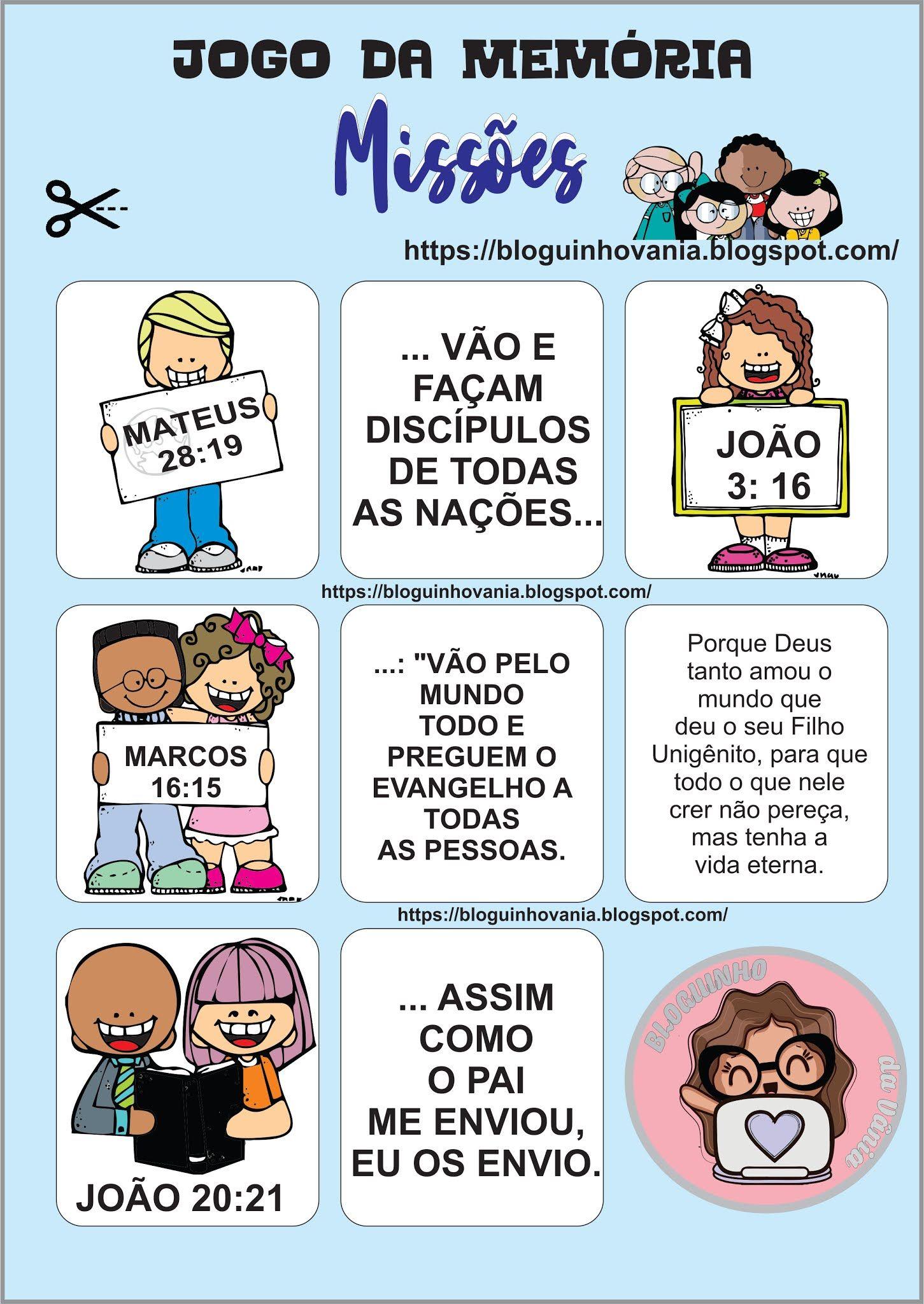 Bloguinho Da Vania Jogo Da Memoria Missoes Biblia Para Criancas Atividades Biblicas Infantil Atividades Biblicas Para Criancas