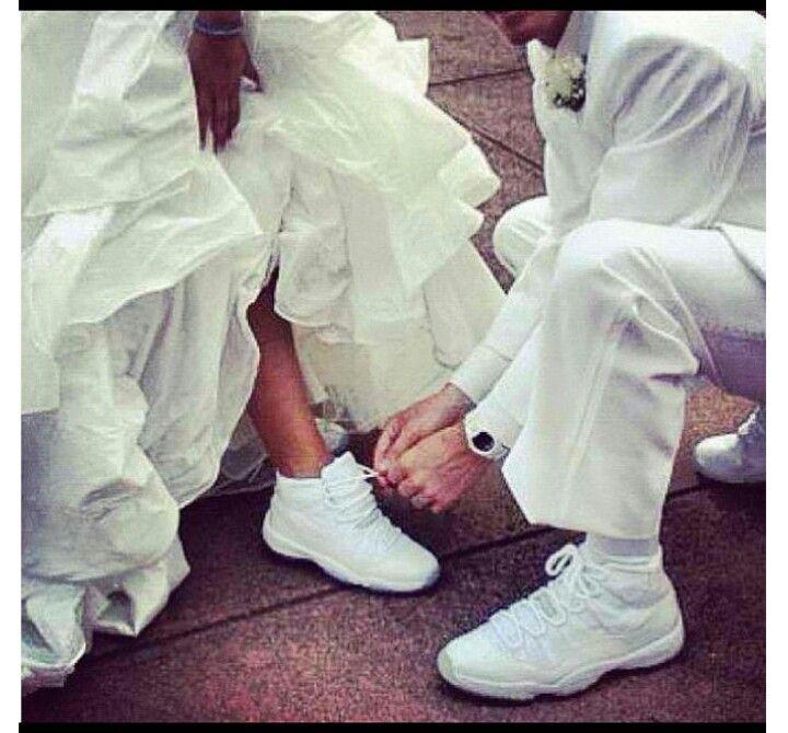 Wedding Day All White Jordans