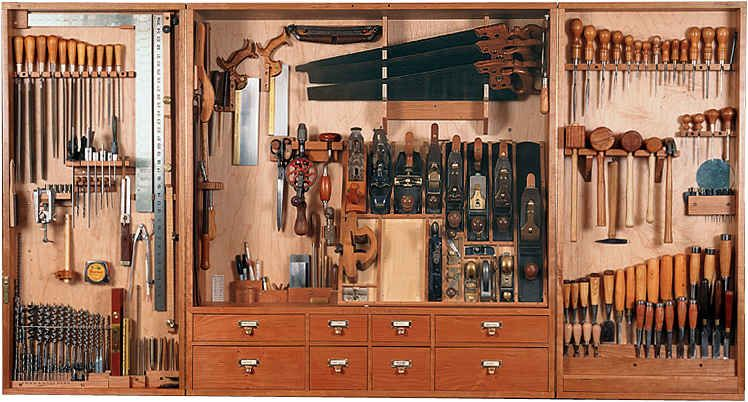 An Orderly Woodworking Tool Cabinet