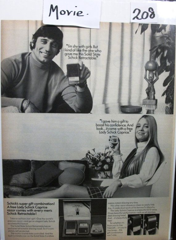 "Movies ... 208   ""Joe Namath for Schick Retractable"" Ad - December 1969"