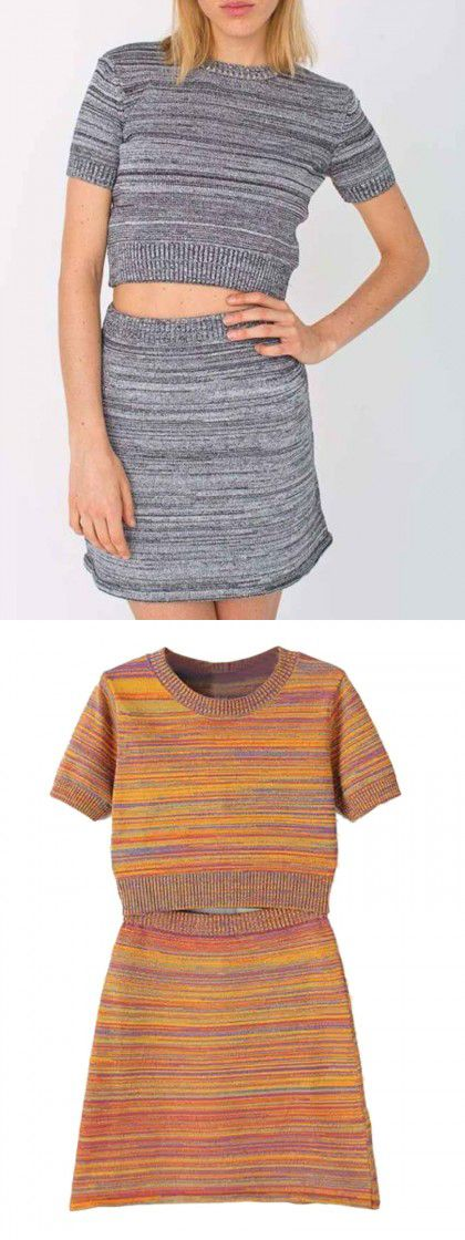 Gray stripe crop top and skirt,nice two piece design for fall and winter!