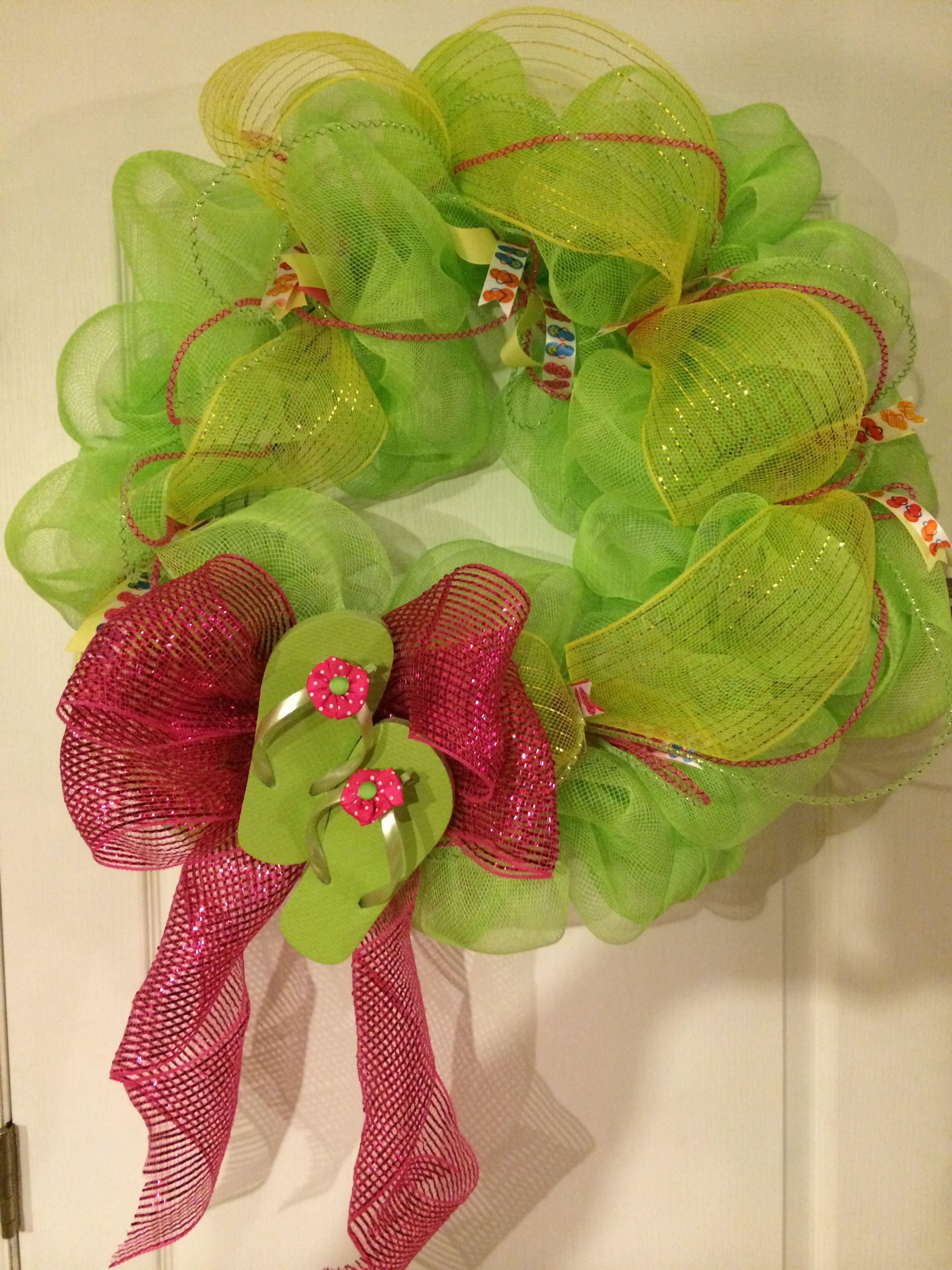 Mesh flip flop wreath