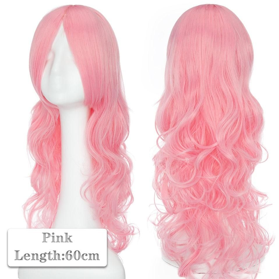 Photo of 60~80cm Cosplay Wig Long Wig Middle Part Hair Wig Cosplay Natural Wavy Heat Resistant Synthetic Wigs – pink 1 / 60-80CM / CHINA