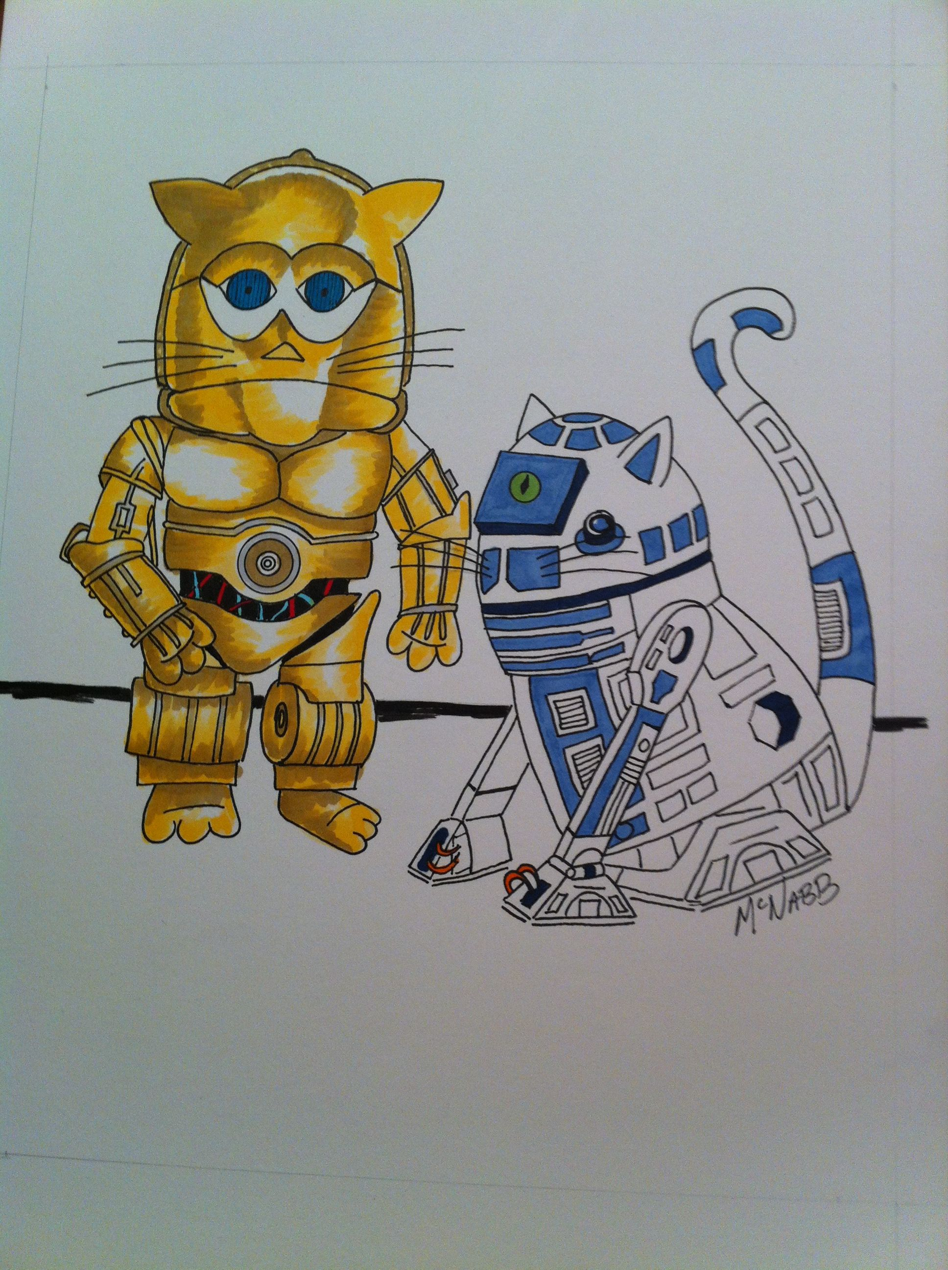 Star Wars Cats #2. C3po And R2d2. Silly Whimsical