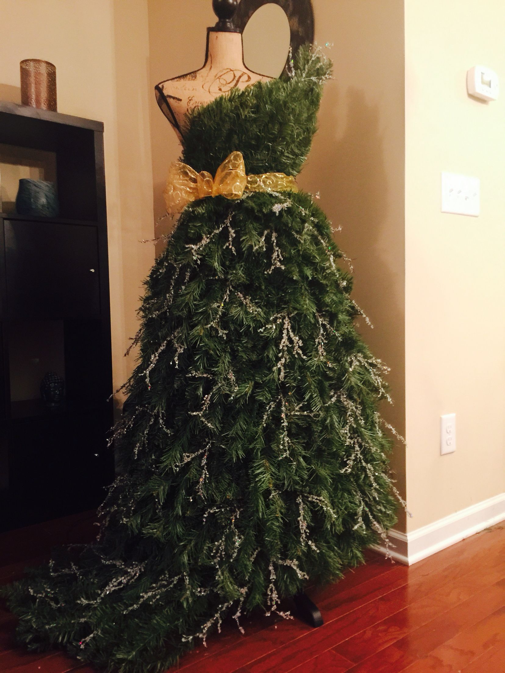 Taking A Dress Form Chicken Wire Floral Wire And Disassembling Two 7 1 2 Foot Christmas Trees To Make A Tree Dress Tree Dress Diy Holiday Decor Floral Wire