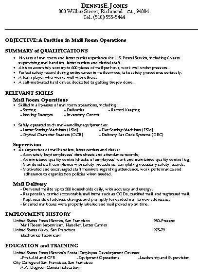 Sample Resume for Mailroom Operations resume Pinterest Sample
