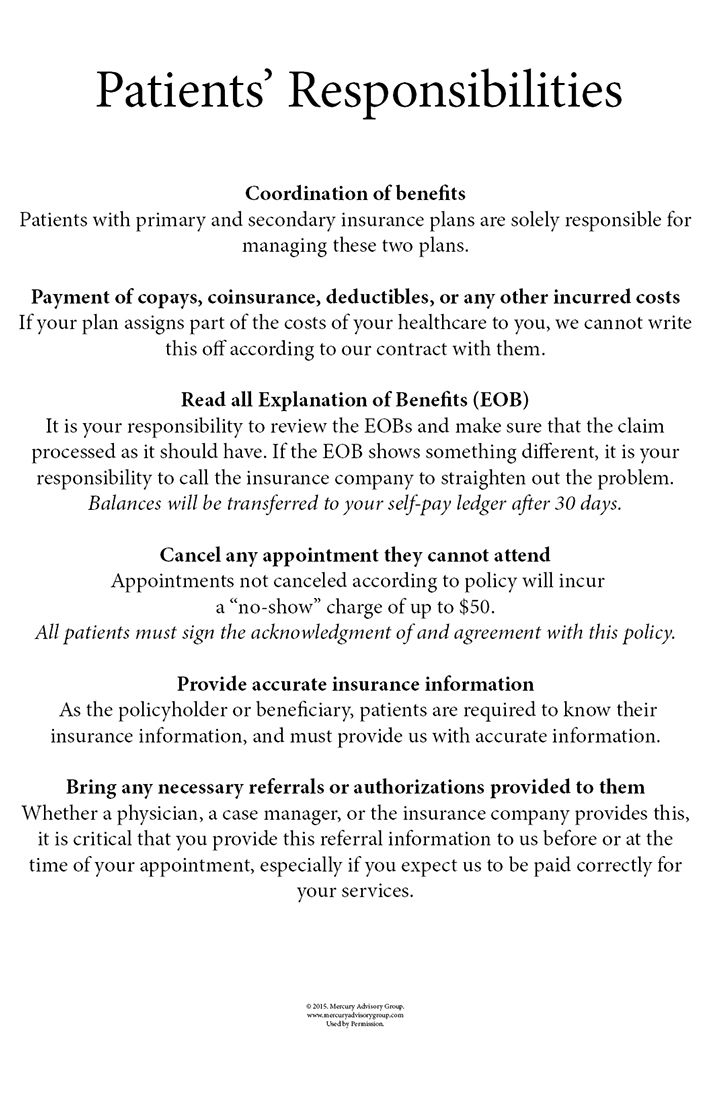 Behance Patients Responsibilities Poster By Maria Todd Us