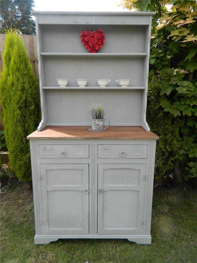 Shabby Rustic Oak Farmhouse Welsh Dresser Storage Display Cabinet
