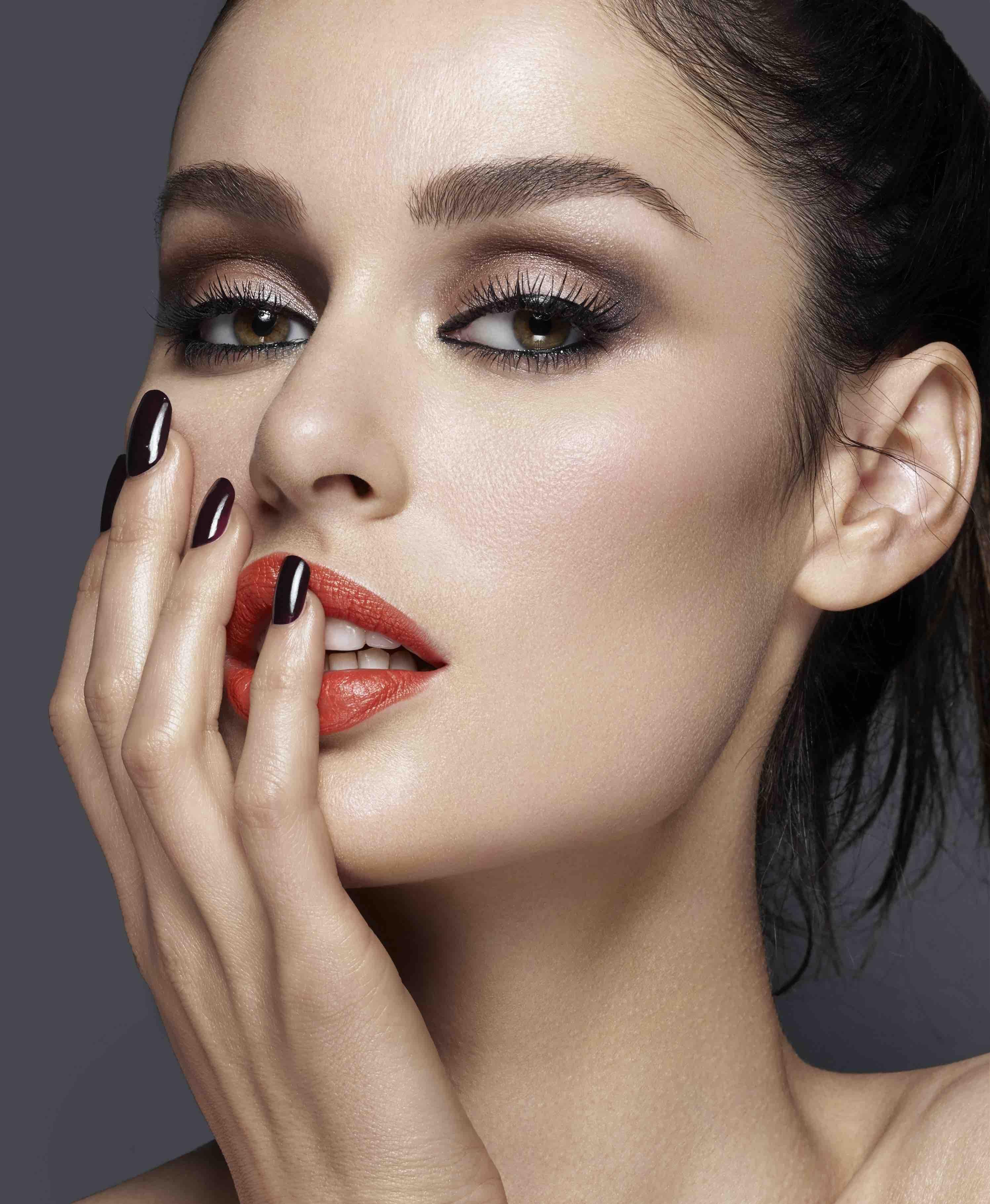 Nicole trunfio, shot by gavin oneil, for Rae Morris makeup book