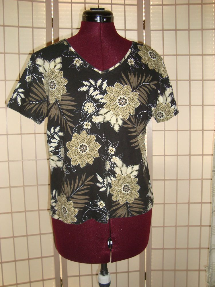Karen Scott Sz M Black & Tan Floral Women's 100% Cotton Knit Top Short Sleeves #KarenScott #KnitTop #Casual