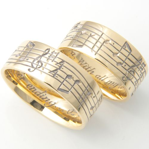 18ct Yellow Gold Musical Notes Hand Engraved Wedding Rings