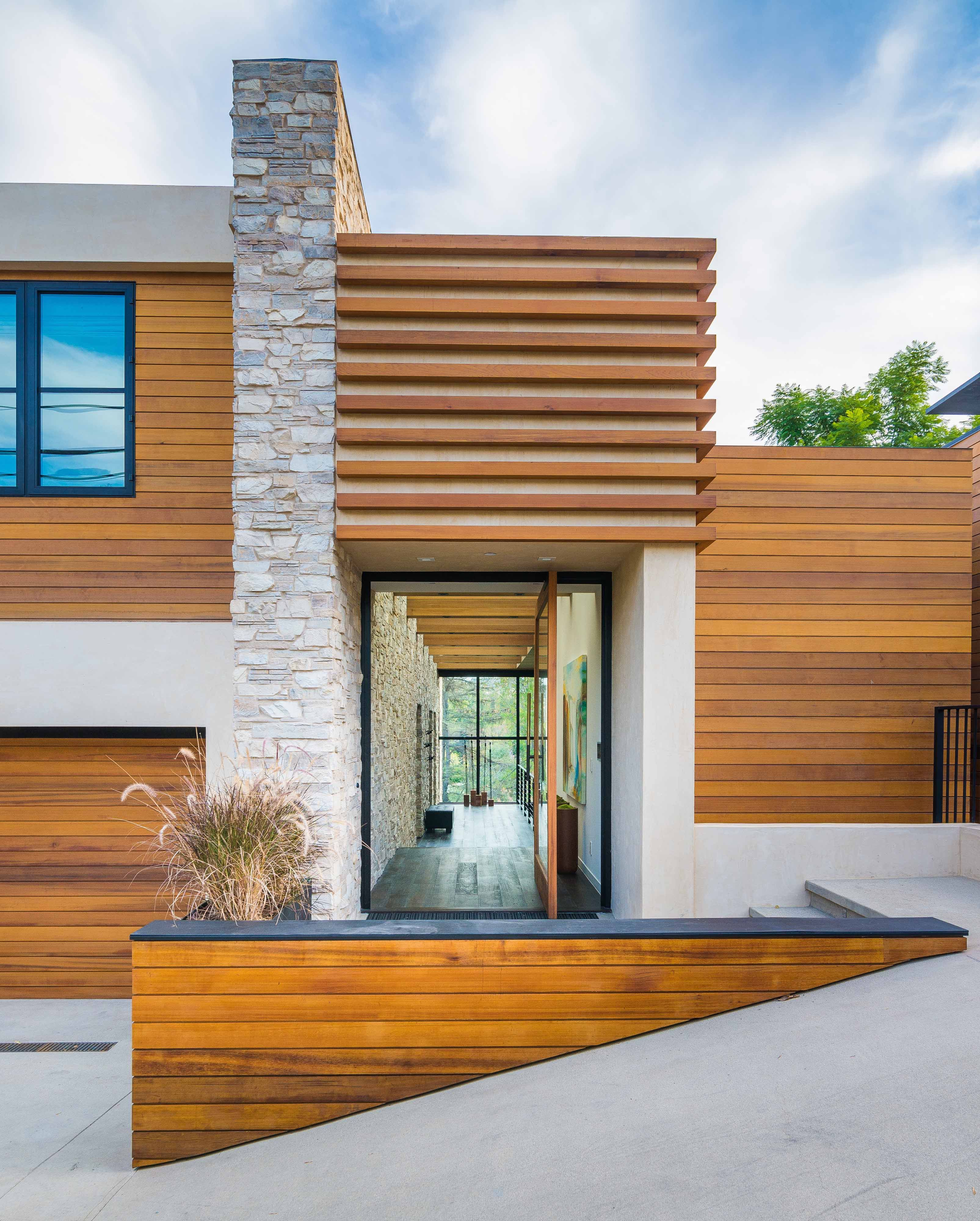 Modern Home Entry Contemporary Stone Windows Wood Siding Gl Landscape Facade House Losangeles Architecture