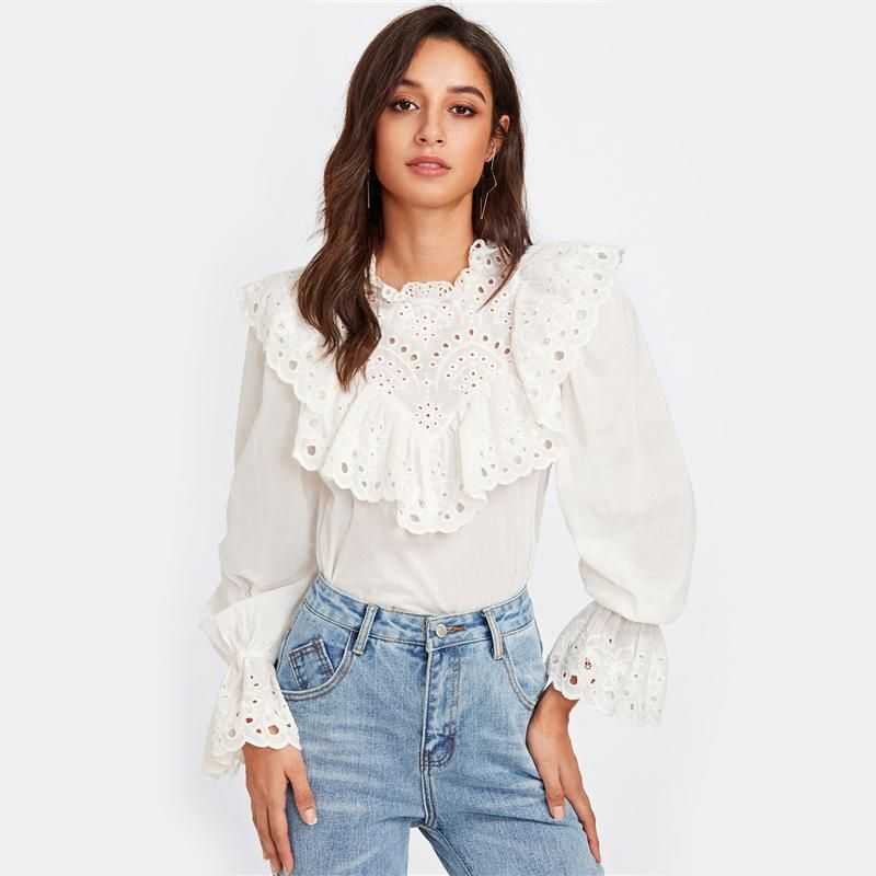 ELISE EYELET WHITE RUFFLE SHIRT is part of Clothes Fall Blouses - Collar ONeck Material Cotton Decoration Button Clothing Length Regular Sleeve Style Regular Fabric Fabric has no stretch