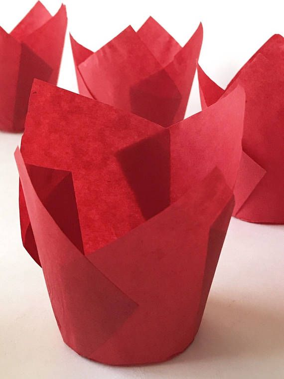 50 Ct Tulip Baking Cupcake Liners Red Paper Muffin Cups Baking Cupcakes Cupcake Liners Red Paper