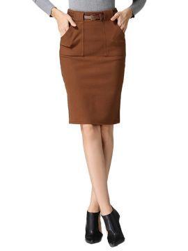 Brown Belted Pocket Detail Split Pencil Skirt   Choies
