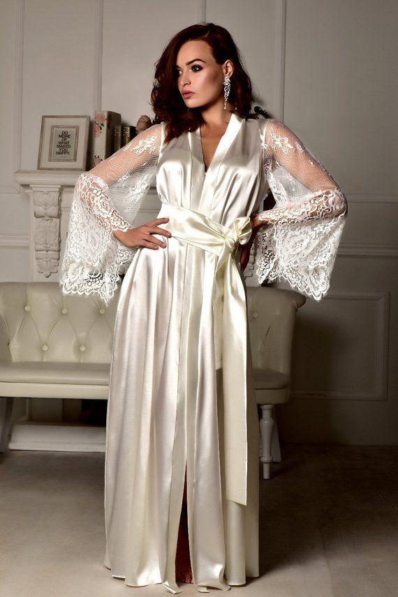 ba3d5f412 Long lace bridal robe Wedding kimono Long bridal robe Kimono robe ...