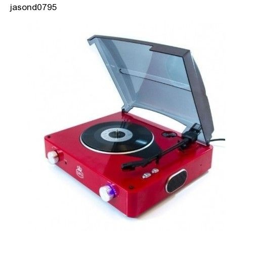 Red Record Player Stereo Music Retro Turntable 3 Speed Vintage Built-In Speaker