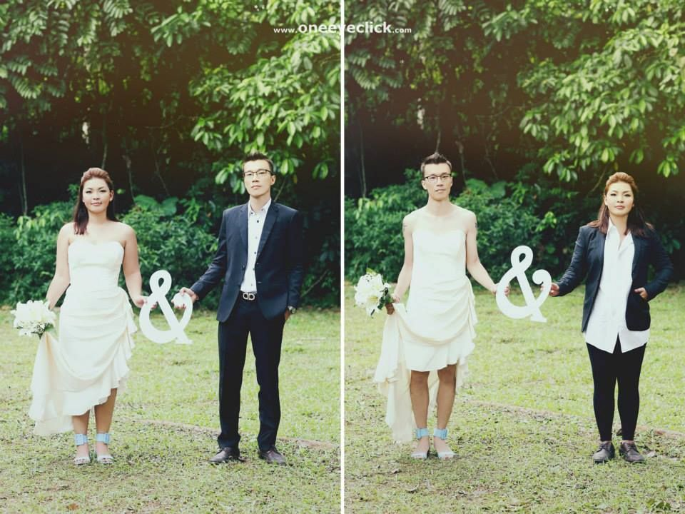 Bride And Groom Outfit Swap Unexpected And Cute Engagement Wedding