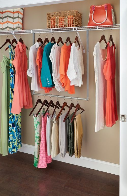 Need More Hanging E For Your Clothes The Double Up Hang Rod By Closetmaid Does Just What It Says From Existing Rail Bar And
