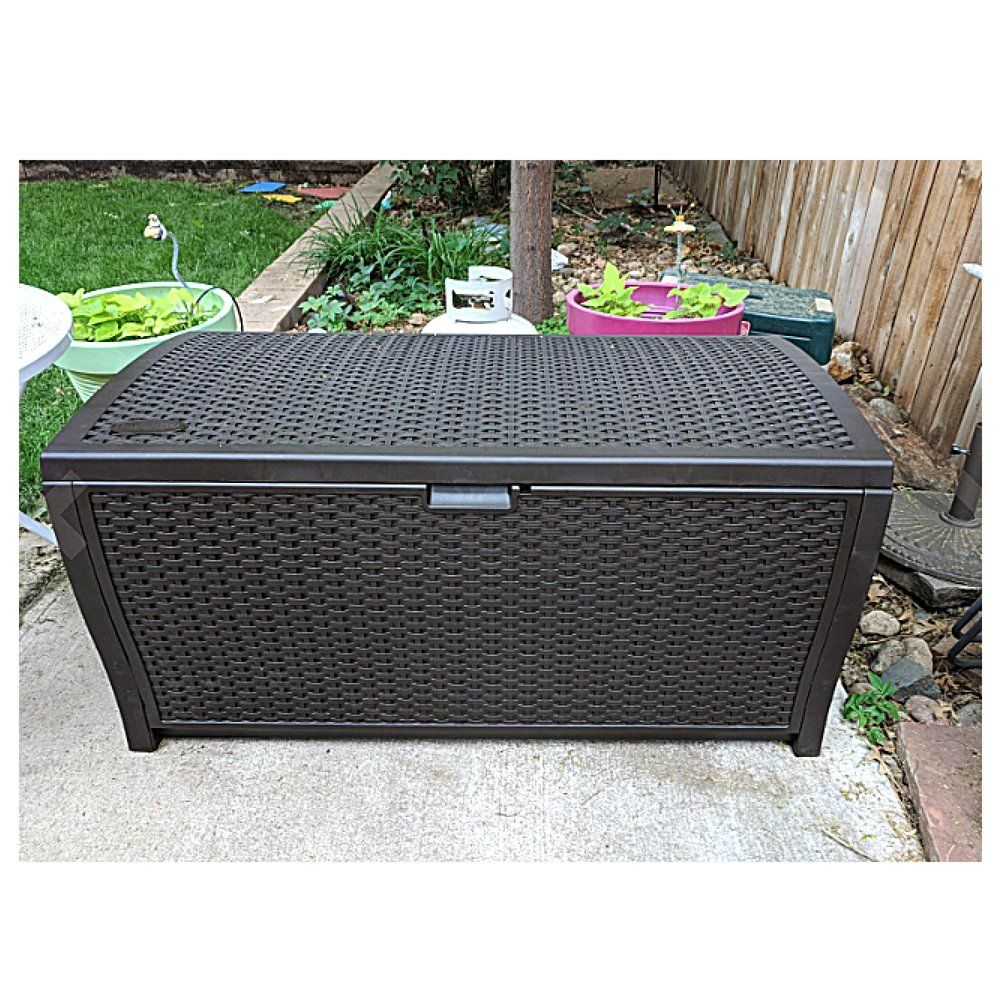 100a Gallona Outdoora Storagea Box Wicker Patio Furniture Extra Large Garage Heavy Duty Big Deck Resin Bench Wicker Patio Furniture Big Deck Locked Containers