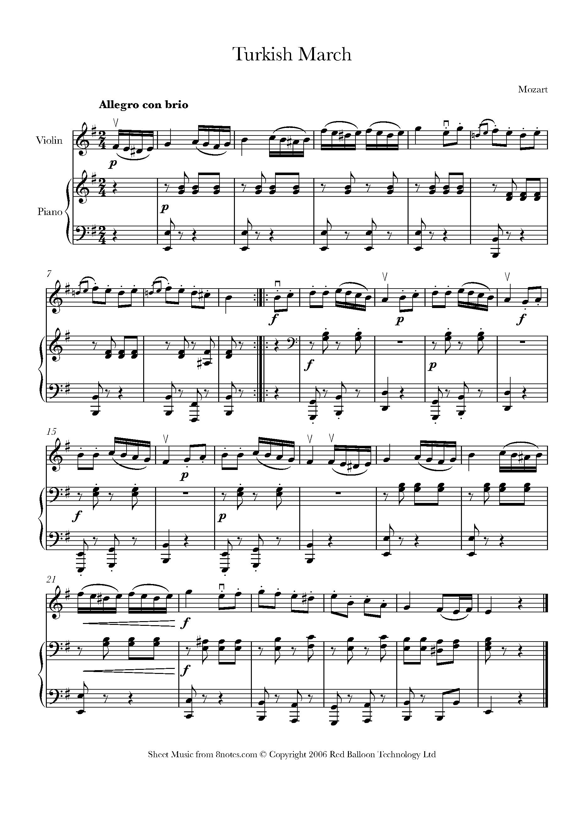 Alla Turca Mozart mozart - rondo alla turca sheet music for violin - 8notes