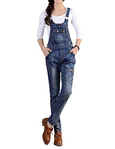 c44e24c415 Jasinwins Women s Juniors Vintage Slim Fit Bib Overall Denim Jumpsuit  Sleeveless Romper with Pockets
