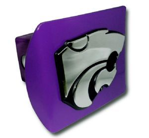 Kansas State University Wildcats Logo Purple and Silver Trailer Hitch Cover is for the Kansas State University or NCAA, Kansas State Wildcats sports fan and comes on a purple background with large, silver Kansas State Wildcats Mascot logo.✖️More Pins Like This One At FOSTERGINGER @ Pinterest✖️