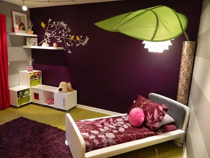 Cool Bedroom Design Ideas That Will Impress You : Cute And Cool Kids Bedroom  With Leaf Inspired Lamp Cover  And Small Bed  And White Drawers  Along With Dark Purple Wall Paint Color