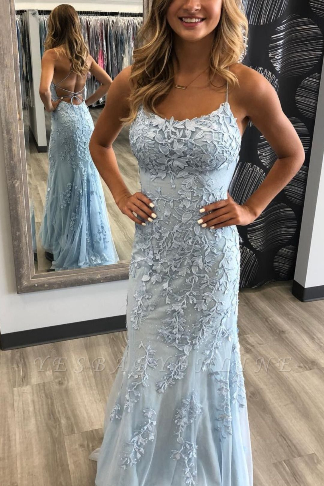 Crisscross straps lace fitted long prom dresses trendy