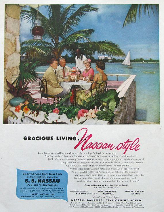 1953 Nassau Vacation Ad 1950s Bahamas Travel By Retroreveries Travel Ads Vintage Travel Bahamas Travel