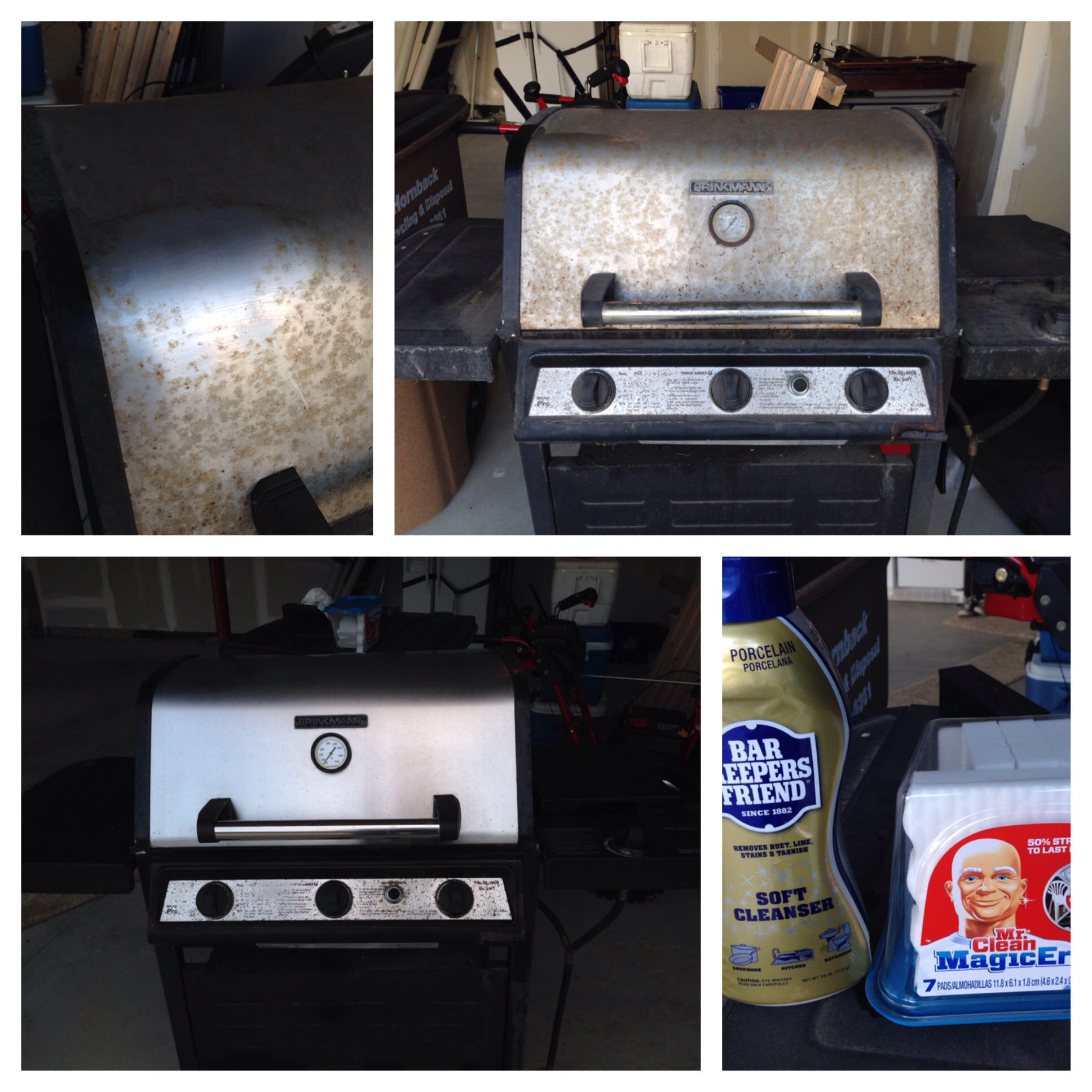 A great before and after of a grill cleaned by Bar Keepers Friend