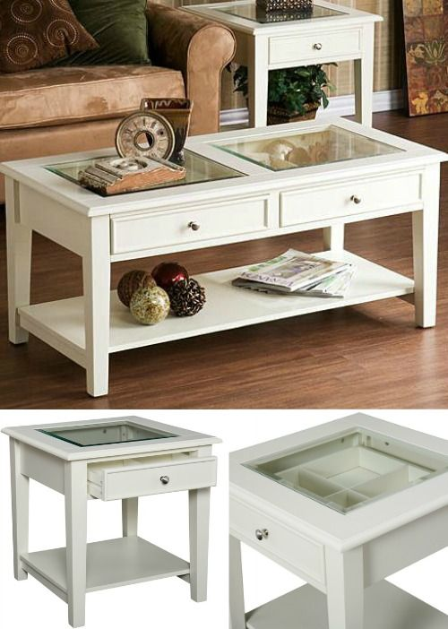 White Display Coffee And Side Table