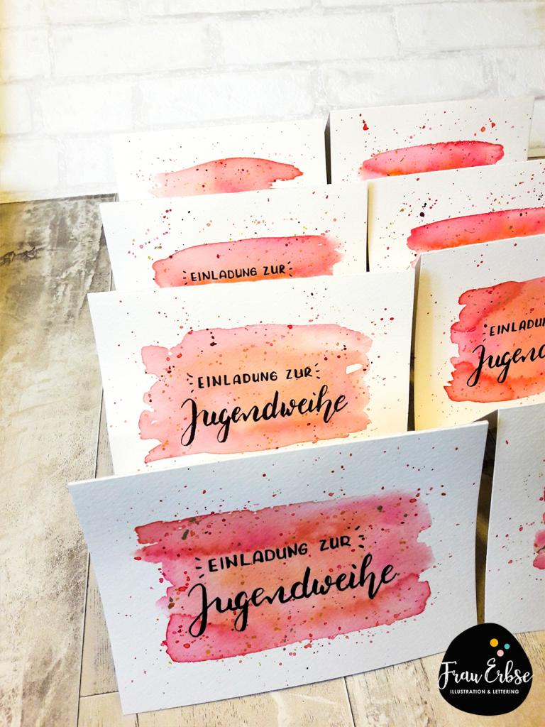 Lettering handlettering brushlettering watercolour aquarell postcard einladung jugendweihe