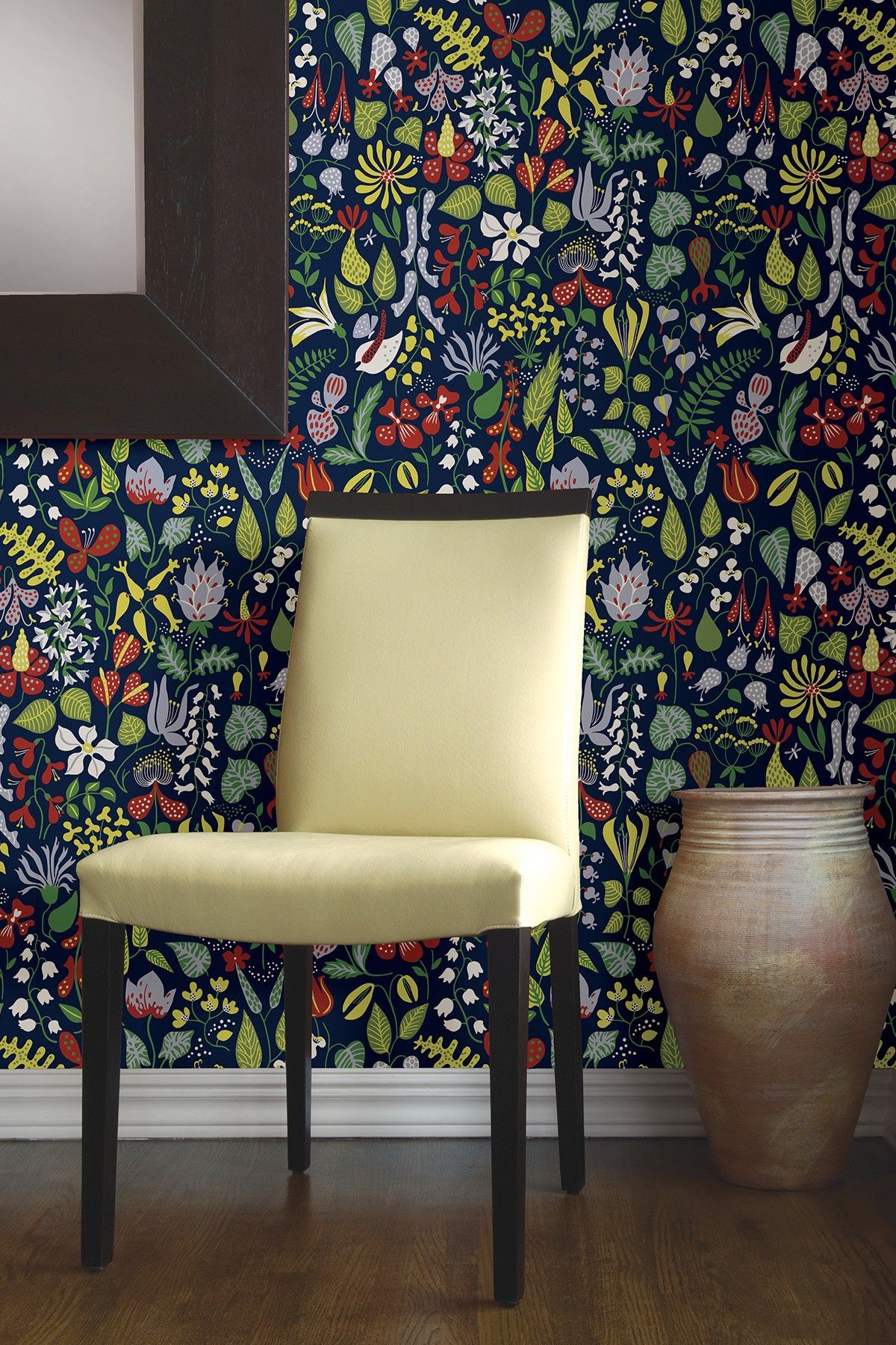 Herbarium Navy Floral Motif Ultra Removable Wallpaper By Brewster
