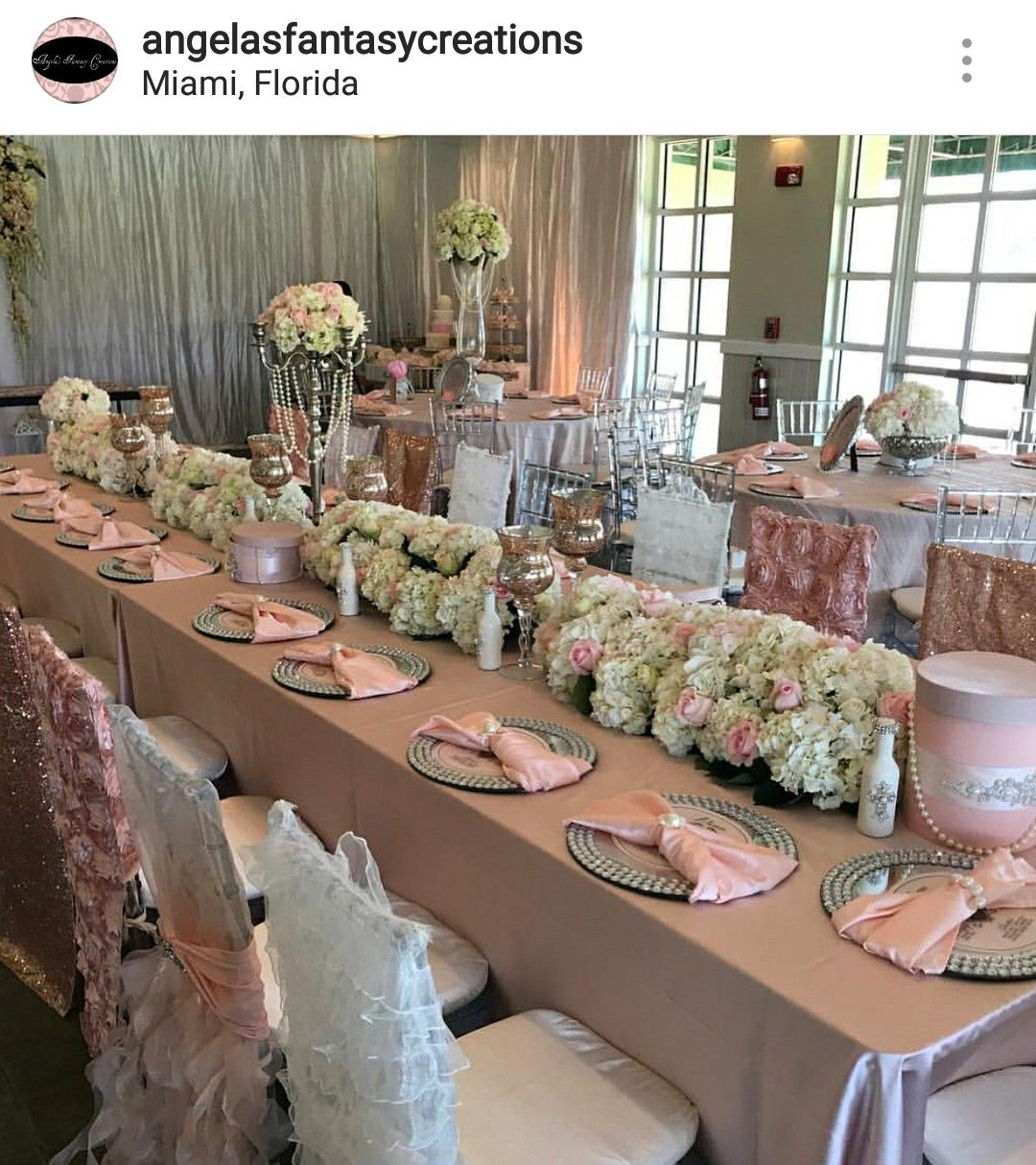 Yacht wedding decoration ideas  Pink and white Floral Wedding Reception Table Setting and Decor