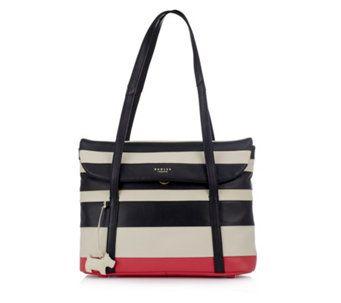 Radley Stripe Leather Shoulder Bag, /Cream