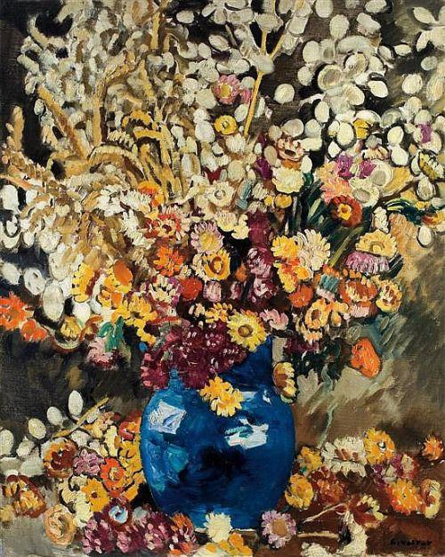 Blue Vase Of Flowers Louis Valtat Peinture Figurative Fauvisme